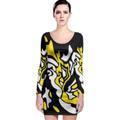 Yellow, black and white decor Long Sleeve Bodycon Dress