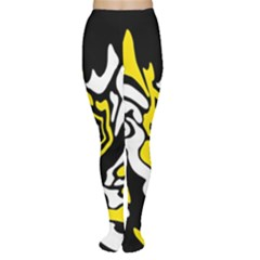 Yellow, black and white decor Women s Tights