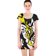 Yellow, black and white decor Short Sleeve Bodycon Dress