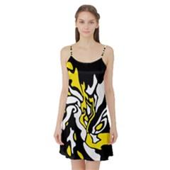 Yellow, black and white decor Satin Night Slip