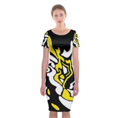 Yellow, black and white decor Classic Short Sleeve Midi Dress