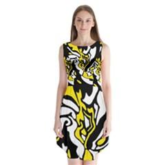 Yellow, Black And White Decor Sleeveless Chiffon Dress