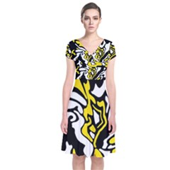 Yellow, black and white decor Short Sleeve Front Wrap Dress
