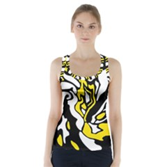 Yellow, Black And White Decor Racer Back Sports Top