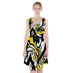 Yellow, Black And White Decor Racerback Midi Dress