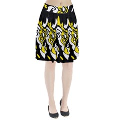 Yellow, Black And White Decor Pleated Skirt