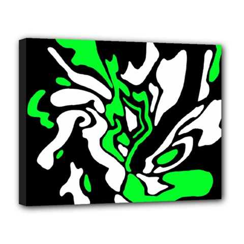 Green, white and black decor Canvas 14  x 11