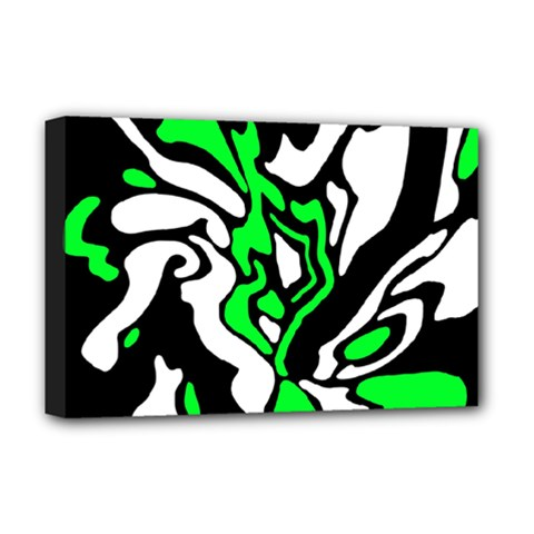 Green, white and black decor Deluxe Canvas 18  x 12