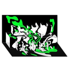 Green, white and black decor Best Friends 3D Greeting Card (8x4)