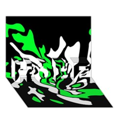 Green, white and black decor HOPE 3D Greeting Card (7x5)