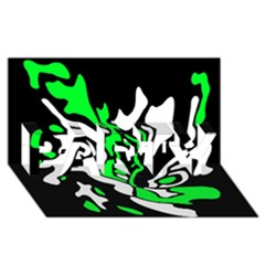 Green, white and black decor PARTY 3D Greeting Card (8x4)