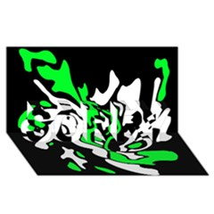 Green, white and black decor SORRY 3D Greeting Card (8x4)