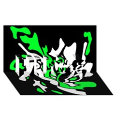 Green, white and black decor HUGS 3D Greeting Card (8x4)