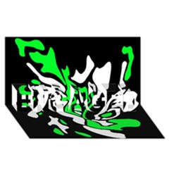Green, white and black decor ENGAGED 3D Greeting Card (8x4)