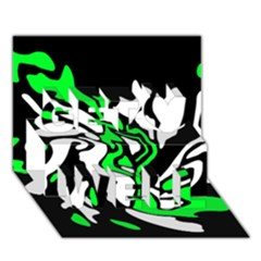 Green, white and black decor Get Well 3D Greeting Card (7x5)