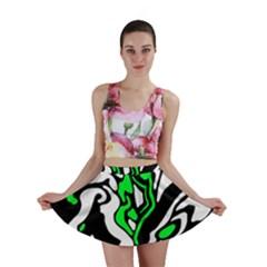 Green, white and black decor Mini Skirt