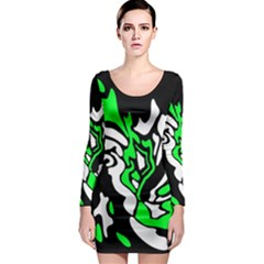 Green, white and black decor Long Sleeve Bodycon Dress