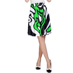 Green, white and black decor A-Line Skirt