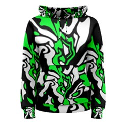 Green, white and black decor Women s Pullover Hoodie