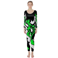 Green, white and black decor Long Sleeve Catsuit