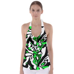 Green, White And Black Decor Babydoll Tankini Top