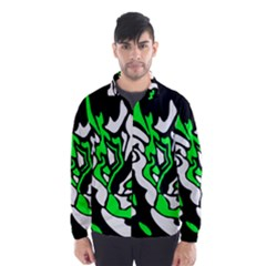 Green, white and black decor Wind Breaker (Men)