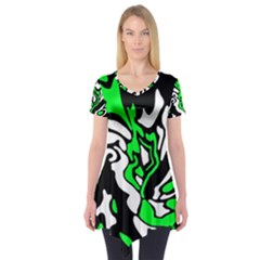 Green, white and black decor Short Sleeve Tunic
