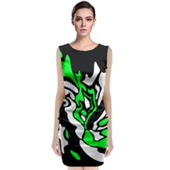 Green, White And Black Decor Classic Sleeveless Midi Dress
