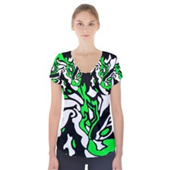 Green, white and black decor Short Sleeve Front Detail Top