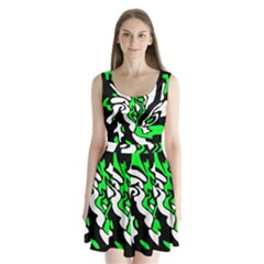 Green, White And Black Decor Split Back Mini Dress