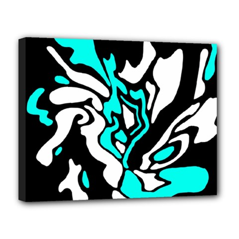 Cyan, black and white decor Canvas 14  x 11