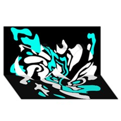 Cyan, black and white decor Twin Hearts 3D Greeting Card (8x4)