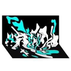 Cyan, black and white decor #1 MOM 3D Greeting Cards (8x4)