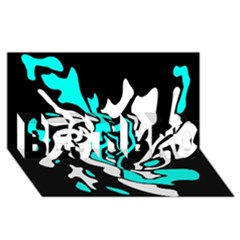 Cyan, black and white decor BEST BRO 3D Greeting Card (8x4)