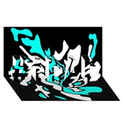 Cyan, black and white decor #1 DAD 3D Greeting Card (8x4)