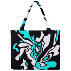 Cyan, black and white decor Mini Tote Bag