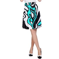 Cyan, black and white decor A-Line Skirt