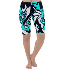 Cyan, black and white decor Cropped Leggings