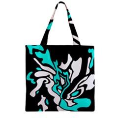 Cyan, black and white decor Zipper Grocery Tote Bag
