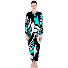Cyan, black and white decor OnePiece Jumpsuit (Ladies)
