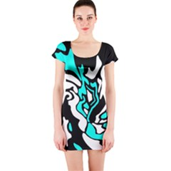Cyan, black and white decor Short Sleeve Bodycon Dress