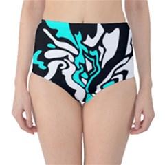 Cyan, black and white decor High-Waist Bikini Bottoms