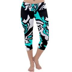 Cyan, Black And White Decor Capri Yoga Leggings