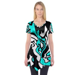 Cyan, Black And White Decor Short Sleeve Tunic
