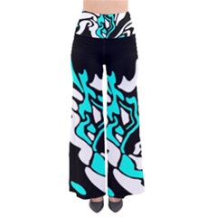 Cyan, black and white decor Pants