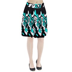Cyan, black and white decor Pleated Skirt