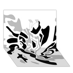 Gray, black and white decor Apple 3D Greeting Card (7x5)