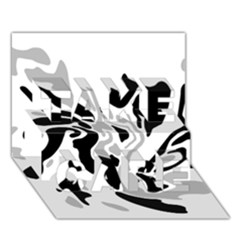 Gray, black and white decor TAKE CARE 3D Greeting Card (7x5)