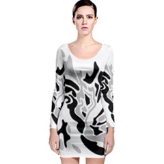 Gray, black and white decor Long Sleeve Bodycon Dress
