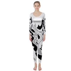 Gray, black and white decor Long Sleeve Catsuit